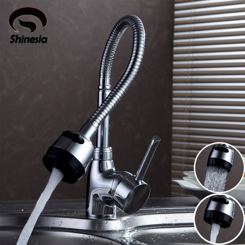 Silver Double Handle Kitchen Faucet Mixer Cold and Hot Kitchen Tap Single Hole Water Tap Chrome Polished