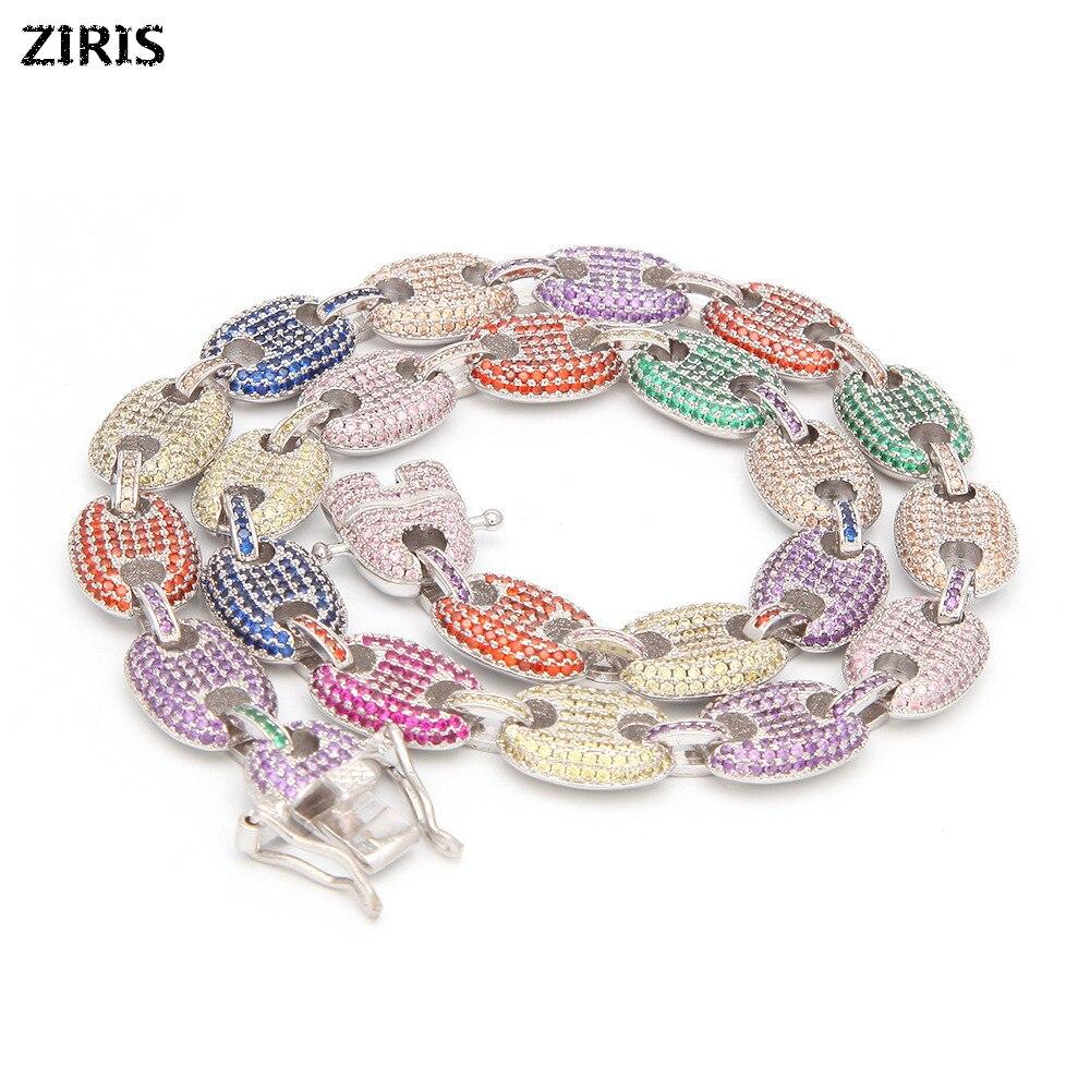 Cuivre inoffensif 8.5-30 pouces mode plaqué or couleur Micro Pave cubique Zircon Bracelet longueur chaîne cubaine Hip Hop bijoux