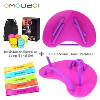 OMOUBOI Exercise Equipment Pink Plastic Hand Web Fins Flippers Swim Training Hand Paddles W/Resistance Exercise Loop Band Set
