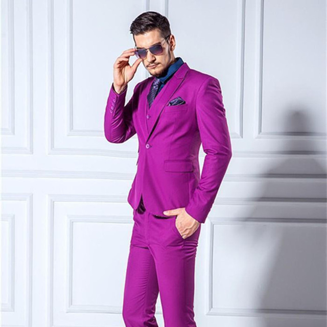 Jackets+Pants+Vest ) Men Suits Slim Blazers Tuxedo Groom Prom Purple ...