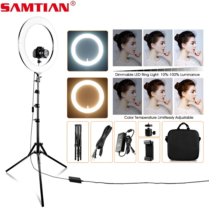 SAMTIAN photo studio lighting 18 polegada 512 PCS CONDUZIU a lâmpada anel anel de luz Regulável Bi cor Com tripé para YouTube maquiagem ringlight