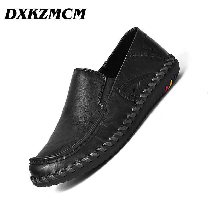 DXKZMCM Men Casual Shoes Autumn Style Soft Moccasins Men Loafers High Quality Genuine Leather Shoes Men Flats leyden bathroom towel rack holder wall mounted black towel rack shelf stainless steel modern towel rack bathroom accessories