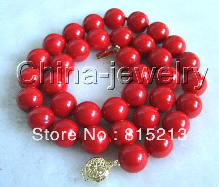 Ddh0022 Magnifique AAAA 10mm naturel parfait rond rouge corail necklace14k or fleur fermoir 28% Discount