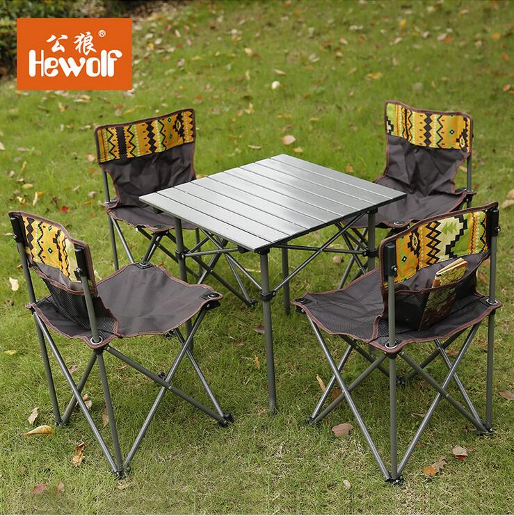Hewolf Brand outdoor folding tables and chairs 5 sets of portable storage camping casual table stool combination set the new portable outdoor folding table chairs aluminum suitcase suit