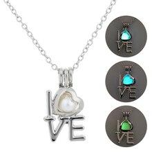 2019 New Fashion Luminous Stone LOVE Pendant Necklace Glow in the Dark Love Heart Women Charm Jewellery Accessories