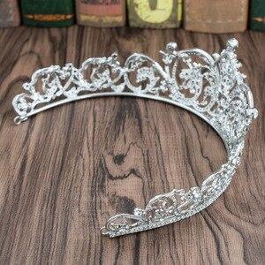 Image 5 - Klasik taklidi kristal 2/3 yuvarlak düğün gelin tacı taç Diadem kadınlar saç aksesuarları takı XBY158L