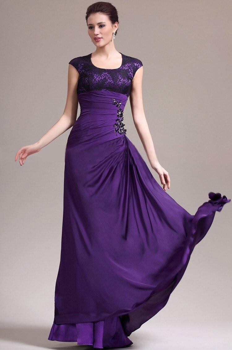 Moda baile vestidos largos barato 2014 púrpura de manga corta Slim ...
