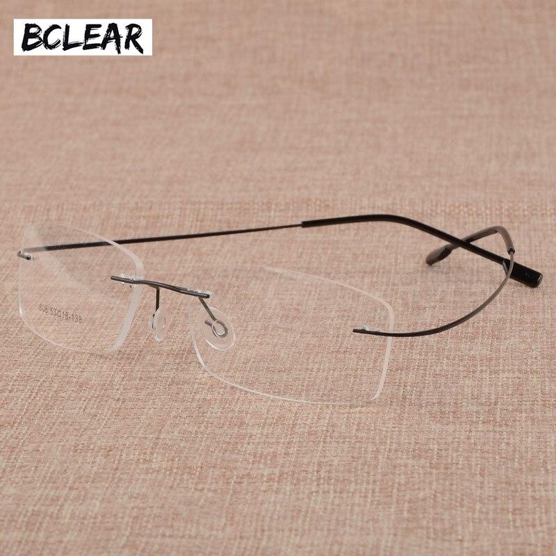 BCLEAR Men's Business Eyelasses Frame Titanium Alloy Memory Frame Glasses Frameless Spectacle Frame 808