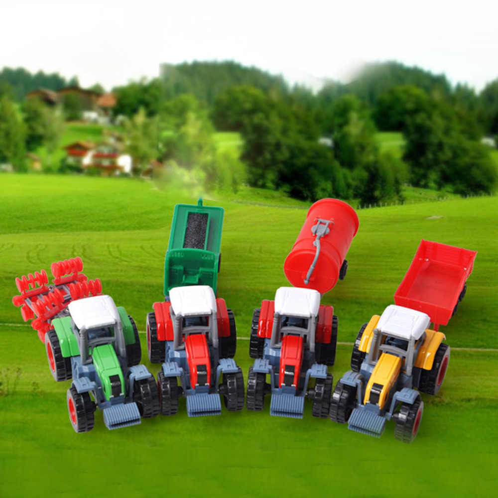 Anak-anak 4 Pcs Mini Lucu Alloy Traktor Pertanian Trailer Mobil Model Kendaraan Lalu Lintas Transportasi Mainan untuk Anak Birthday Festival Hadiah