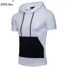Fashion brand Male casual Hooded t shirt pockets Tees 2018 O-neck short-sleeved patchwork slim t-Shirt men Tops EU size S-XXL все цены