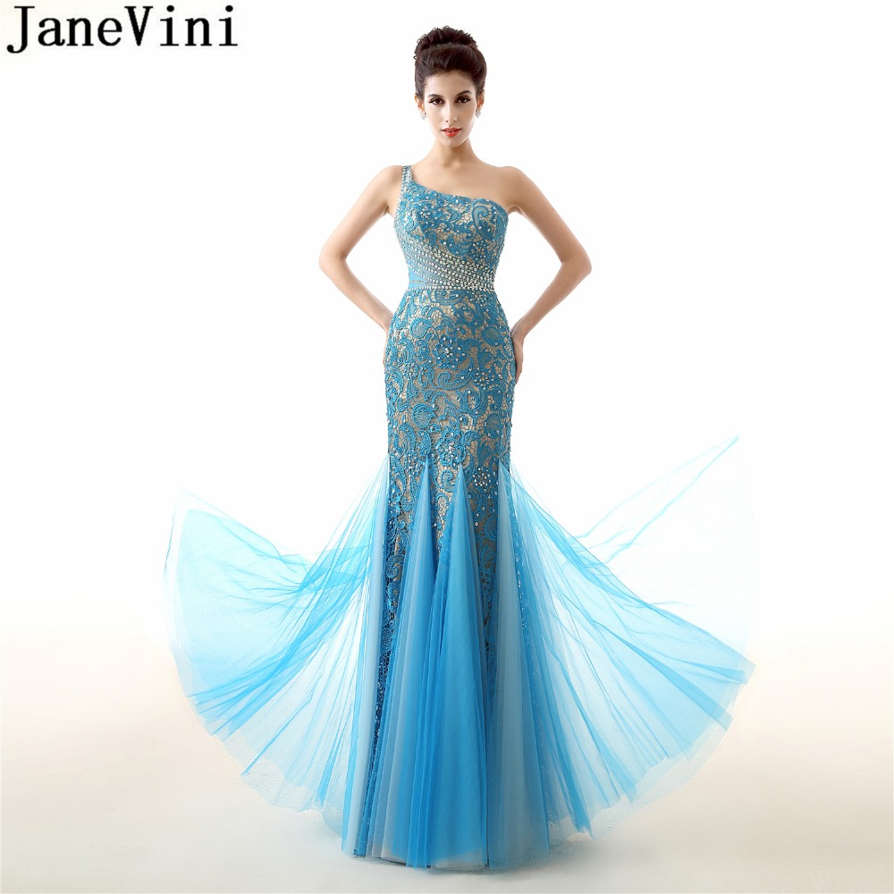 JaneVini Sexy One Shoulder Blue Bridesmaid Dresses Long Mermaid Prom Dresses Beaded Sequins Lace Tulle Formal Arabic Party Gowns