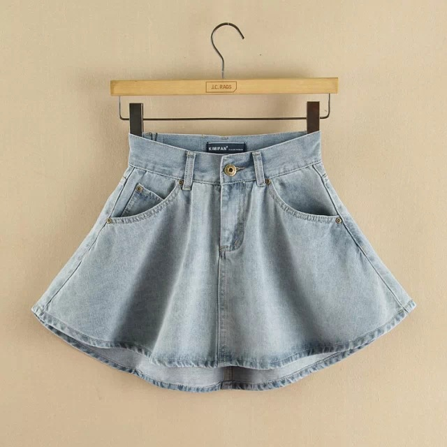 2018 New Arrivals Womens Summer AA style Denim Short Skirt Mini High Waist Short Falda Jeans Skirts