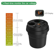 Qi Wireless Cup Stand Holder Fast Charger with Independent Switch Cigarette Lighter Quick Charger for Mobile Phone Smart charge