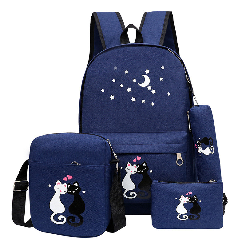 Canvas Backpack Book-Bag Rucksack Cat-Printing Teenager Preppy-Style Girls Women