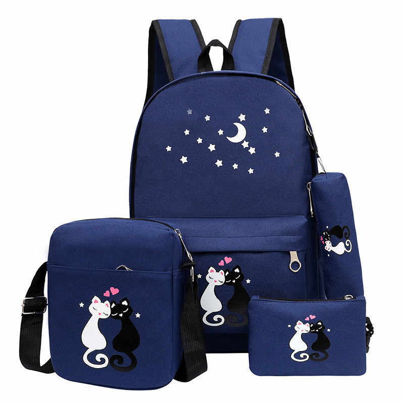 4 ピース/セット女性バックパック猫印刷キャンバスランドセルティーンエイジャーの女の子プレッピースタイルリュックかわいいブックバッグ Mochila Feminina