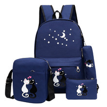4pcs/set Women Backpack Cat Printing Canvas School Bags For