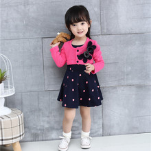 3 Colors Baby clothes spliced design girls dresses name brand kids dress spring autumn children clothing lace child(China)