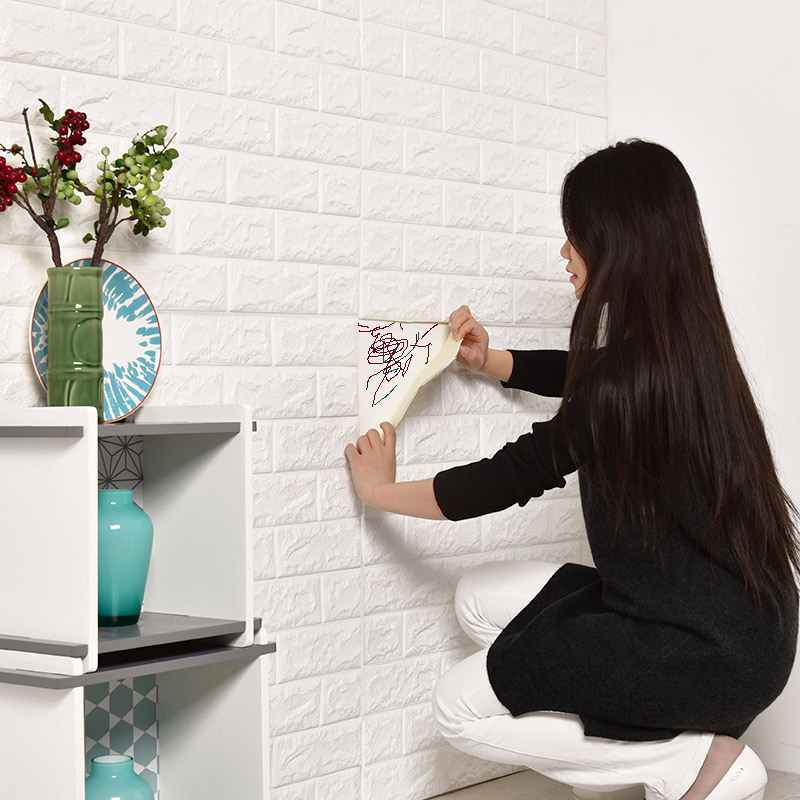 3D Foam Wall Stickers Safty Home Decor Wall Stickers DIY Wall Decor Brick Living Room Kids Bedroom Decorative Wall Sticker