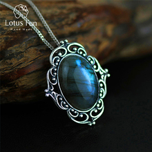 Lotus Fun Real 925 Sterling Silver Natural Labradorite Handmade Fine Jewelry Vintage Pendant without Necklace Women Acessorios