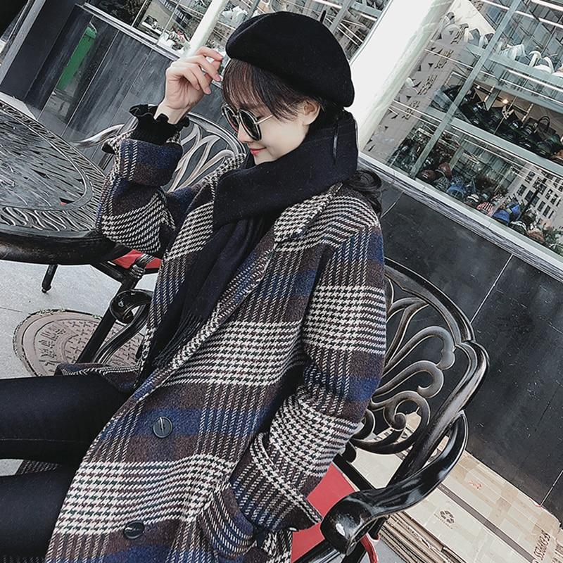 Automne Rétro Manteau Longue breasted Femelle Hiver Single Xy008 Plaid Coréenne Femmes Mode De Section Moyen Nouveau Laine En 2019 Blue Lâche g5v8qxtw