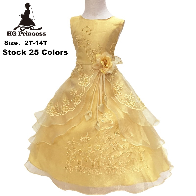 цены HG Princess 2018 New Arrival Party Dress 2-14 Years Kids Evening Gowns Organza Embroidery Gold Flower Girl Dresses For Weddings