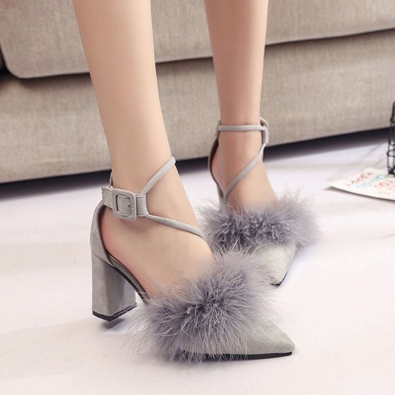 2018 New Arrivals High Heels Sandal Shoes Woman Fashion Cusp Flock Ankle Strap Casual Buckle Strap Solid High 8 CM Size 35-39 2017 summer new women sandals high heel 6 8 cm elegant buckle strap shoes new lady fashion casual flock shoes sandalias mujer