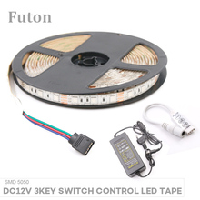 5m DC12V Key Switch Controlled RGB LED Strip With Adapter Waterproof Flexible SMD5050 LED Light For TV Backlight Wardrobe light