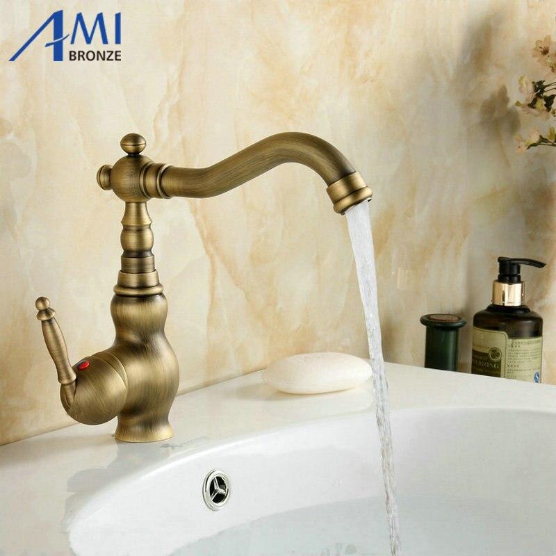 Robinets en laiton Antique cuisine évier pivotant salle de bain bassin robinet mitigeur 9065A
