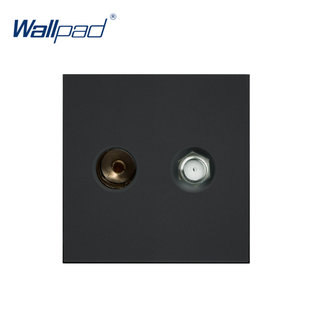 Wallpad Luxury TV and Satellite TV Socket Function Key For Wall White And Black Plastic Module Only