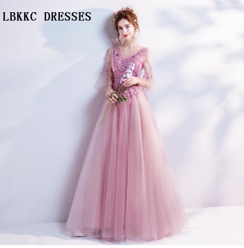 Nude Pink Evening Dress Long With Half Sleeves Tulle With Lace Flowers  Formal Women Dresses Evening Party Vestido De Noche dc0222871670