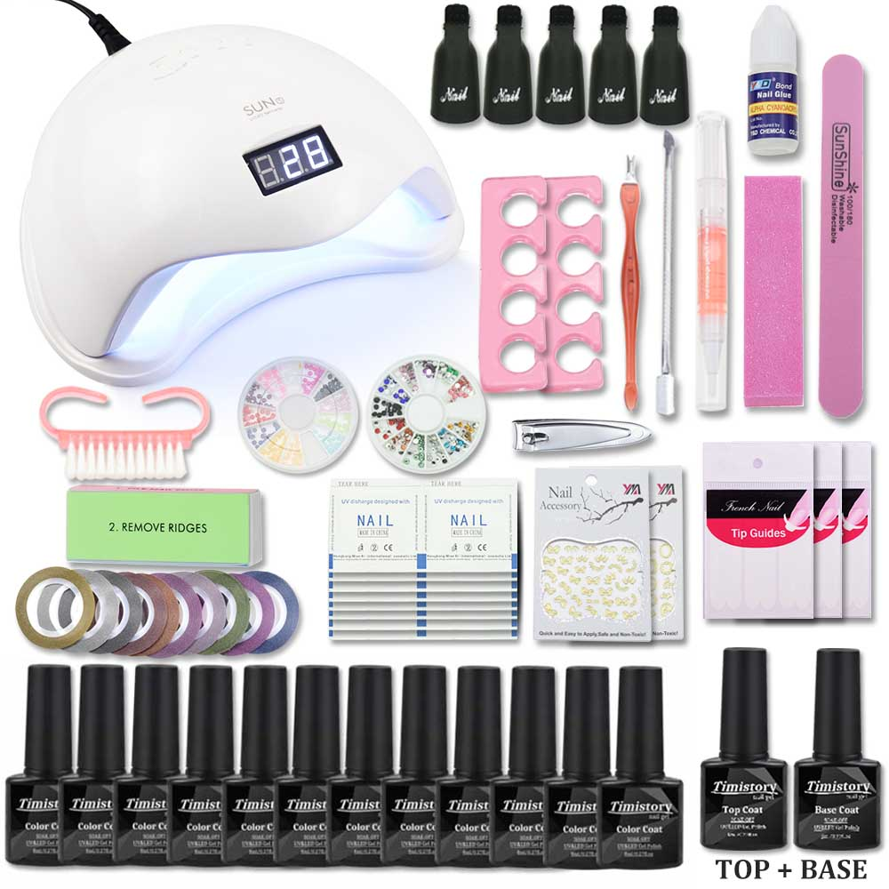 Timistory Nail Set with UV Led Lamp 72/54/48/40W 12 Color Soak Off Nail Polish Set Base Gel Top Coat Nail Kit Manicure Tools Set-in Sets & Kits from Beauty & Health    1