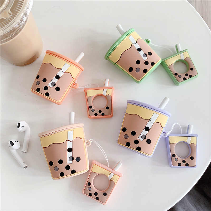 New Cute Milk Tea Silicone Case For Apple Airpods Cover Case Air pods Accessories Bluetooth Earphone Protective Cover Key Ring