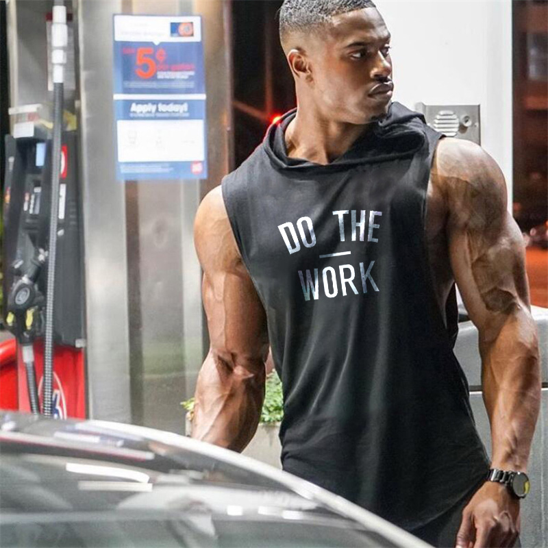 New DO THE WORK Print Bodybuilding Stringer Hoodies Sporting Fitness Brand Tank Top Men Gyms Clothing Cotton Pullover Hoody