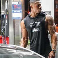 Novo FAZER O TRABALHO de Impressão Hoodies Marca Top Homens Tanque de Fitness Ginásios Esportivos Musculação Longarina Pullover Roupas de Algodão Com Capuz