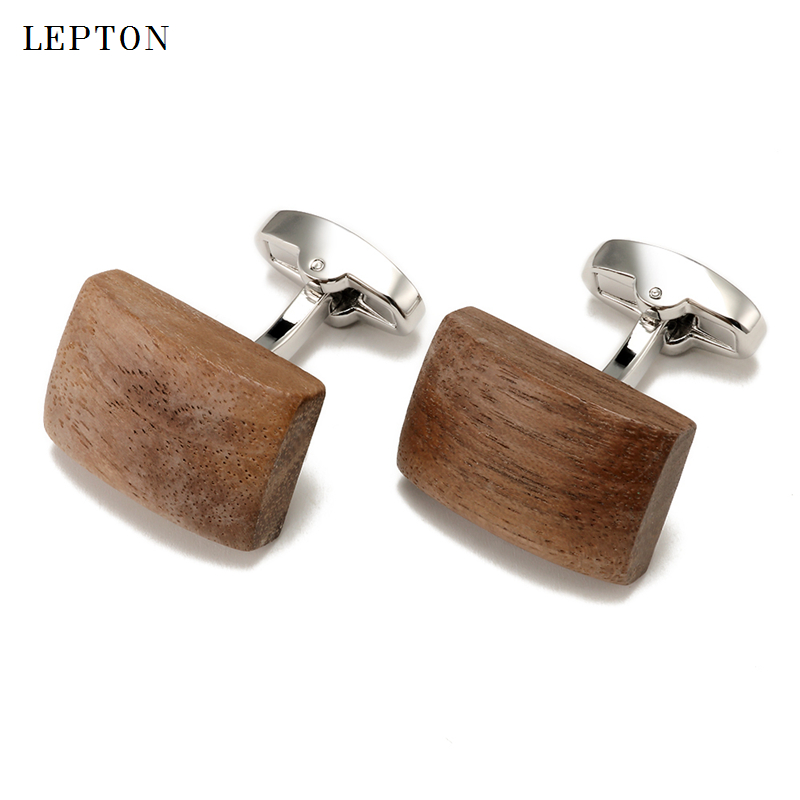 Low-key Luxury Walnut Wood Cufflinks For Mens High Quality Lepton Square & Ellipse Walnut Cuff Links Men Shirt Cuffs Cufflink