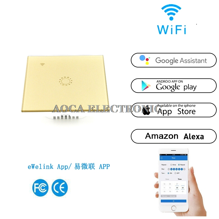 1/2/3Gang Smart Wi-Fi Touch Switch Wall Light Panel Wireless Intelligence  Timing&Remote Control APP Work with Alexa Google Home