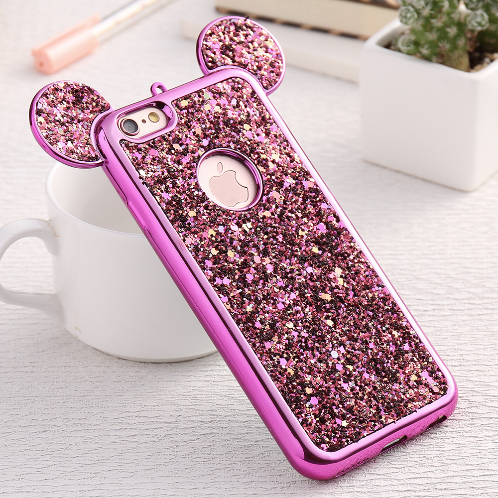 fashion 3d mickey mouse case for iphone 6 6s 7 plus 5s rhinestone glitter silicone case coque. Black Bedroom Furniture Sets. Home Design Ideas