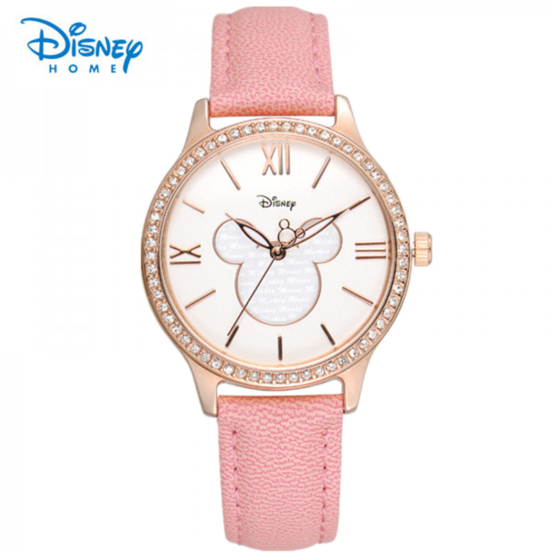 100% Genuine Disney Fashion Women Watches Luxury Rhinestones Brand Quartz Watch Women Casual Hours Clock Wristwatch Reloj Mujer