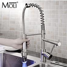 Твердая латунь никель Матовый кухонный кран на бортике тянуть вниз torneiras с двумя спрей светодиодная водопроводной воды