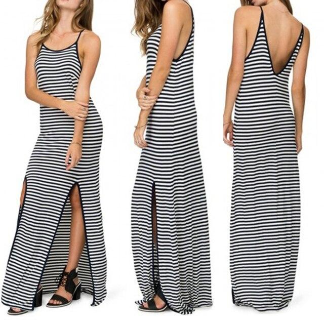 gestreepte jurk met split