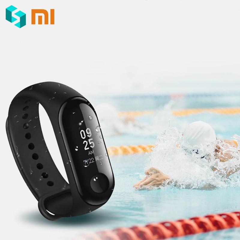 Original Xiaomi Band 3 OLED Display Smart Wristband 5ATM Water proof Instant Message Smart Band Heart Rate Time Xiaomi Mi Band 3 authentic xiaomi instant me 100