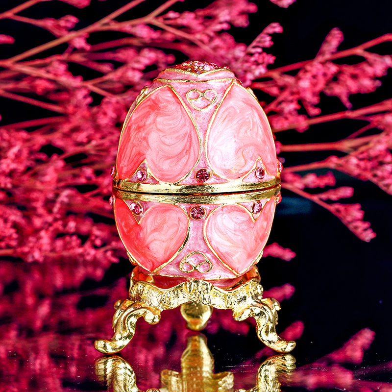 Pink easter metal crafts gifts embroidery russian egg jewelry pink easter metal crafts gifts embroidery russian egg jewelry trinket box for christmas gifts wedding jewelry display case gift in figurines miniatures negle Gallery