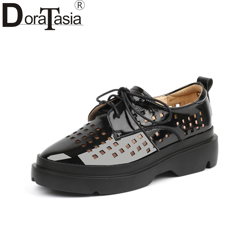 Doratasia Fashion New Patent Leather lace-up Hollow Round Toe Best Quality Platform Shoes Woman Casual Spring Sneakers Flats doratasia flowers embroidery women shoes sneakers lace up fashion flat platform ladies shoes woman high quality