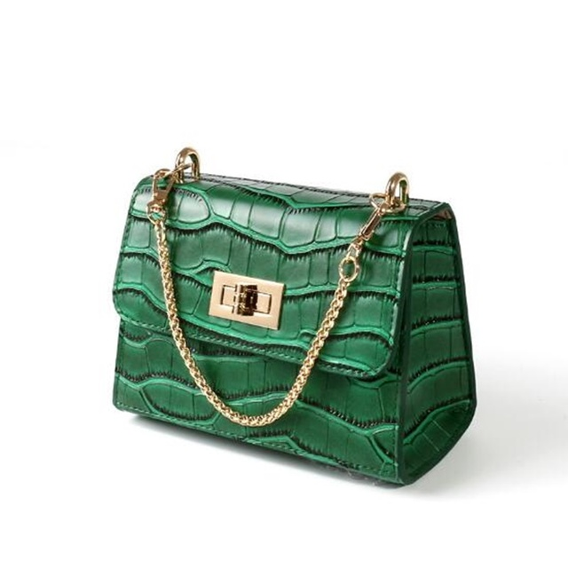 2017 Women Alligator Leather Messenger Bags Luxury Chains Shoulder Bag Clutch Purse Fashion Mini Small Green