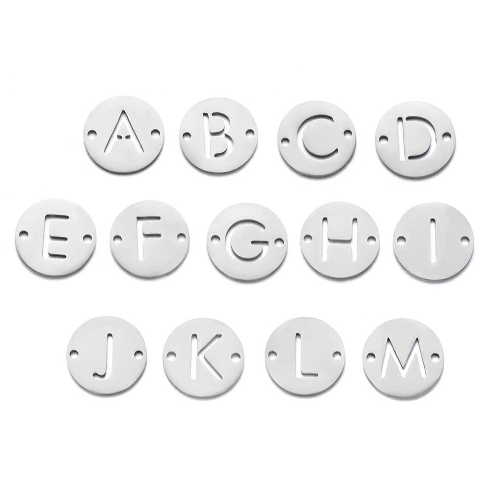 26 Letters From A to Z Stainless Steel DIY Pendant 12mm Diameter Initials Charm Fashion Jewelry Accessories 10pcs/lot