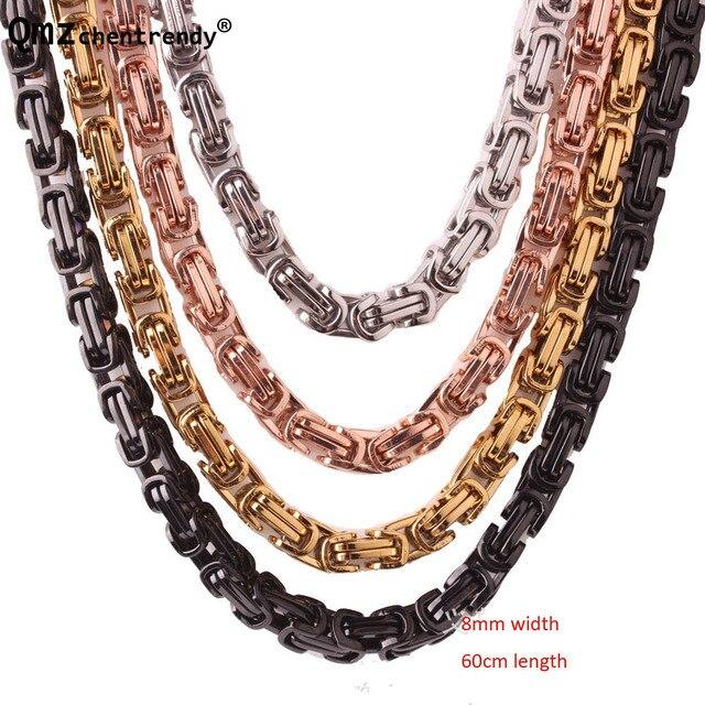 6b42496b7092 Collar para hombre dorado negro Color plata 316L Acero inoxidable bizantino  caja cadena Vintage joyería collares