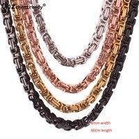 Herren Halskette Gold Schwarz Silber Farbe 316L Edelstahl Byzantinischen Box Kette Vintage-Schmuck Halsketten Für Geschenk