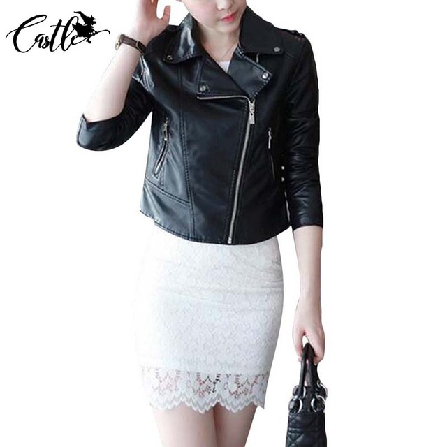 Spring Fashion Women Motorcycle Vintage Faux Leather Coat PU Jacket Epaulet  ZippersTurn Down Collar Black Pink