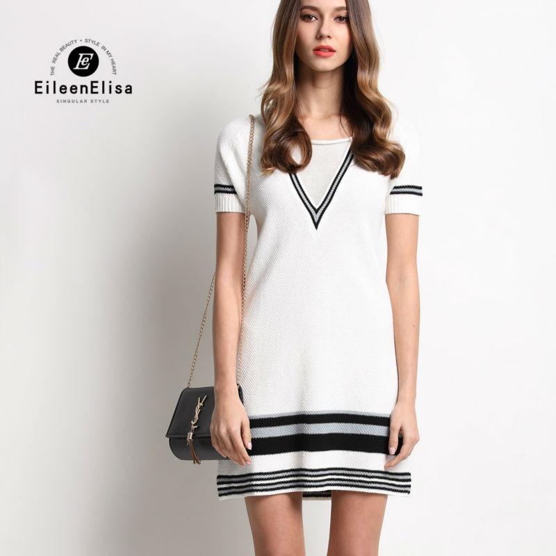 Runway Mini Dress Women Summer 2017 Luxury White Striped V-Neck Short Sleeve Dresses