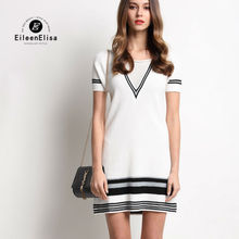 Runway Mini Dress Women Summer 2017 Luxury White Striped V-Neck Short Sleeve Dresses